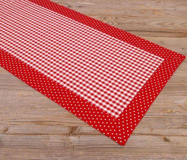 Tischläufer Mitteldecken Landhaus HANNE Karo Punkte Borte 40x150 cm 2 Farben 1Stk