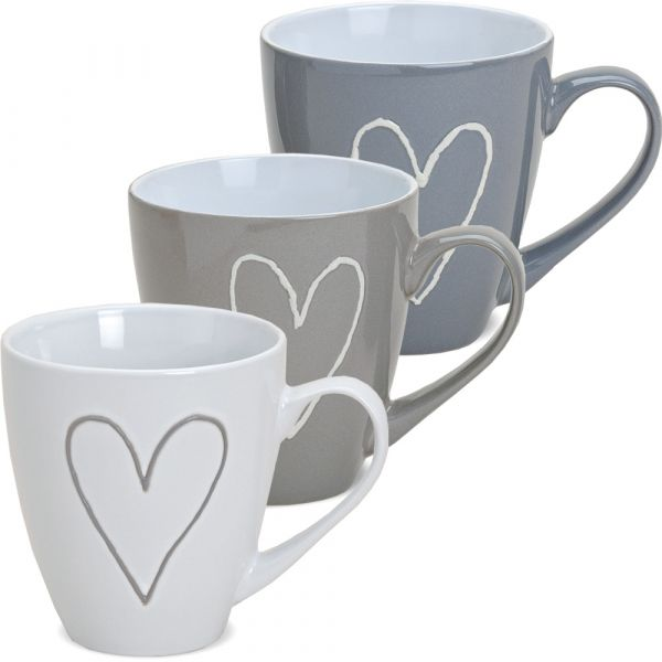 Große Tasse Becher Kaffeebecher Herzen Herzdekor grau beige weiß 1 Stk. B-WARE 400 ml