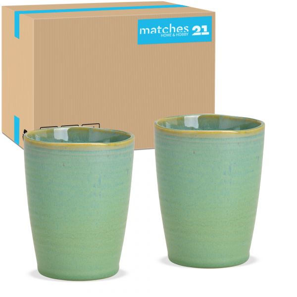 Becher Trinkbecher ohne Henkel Keramik / Steingut grün 36 Stk Karton Ø 8 cm
