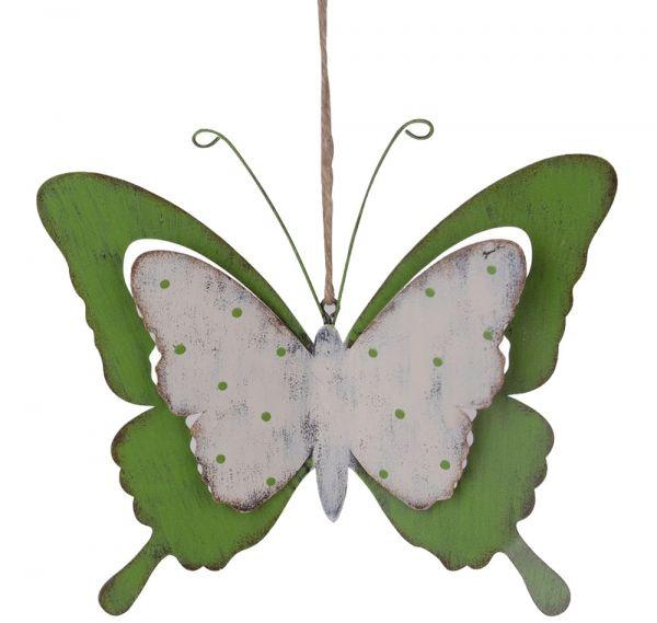 Schmetterling Dekofigur mit Kordel Figur zum Hängen Metall weiß & grün 13x11 cm