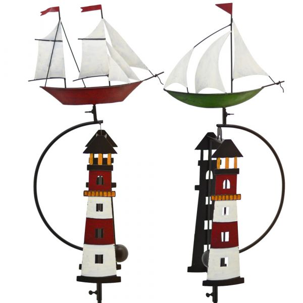 Schiff ODER Segelschiff als Wippe mit Leuchtturm Gartendeko Metall 1 Stk 142 cm
