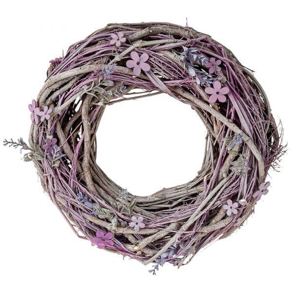 Gekalkter Deko Rebenkranz mit Holzblumen und Lavendelzweigen 1 Stk Ø 30 cm