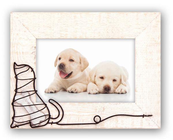 Bilderrahmen String Art / Wickelgrafik Foto Rahmen Holz beige Hund und Knochen