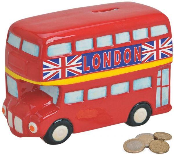 Spardose Doppeldecker Bus London Urlaubskasse Sparbüchse Keramik 1 Stk 19x12 cm