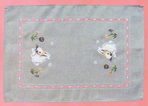 Tischläufer Mitteldecke Osterhasen Ostern Frühling grau Stick bunt 35x50 cm