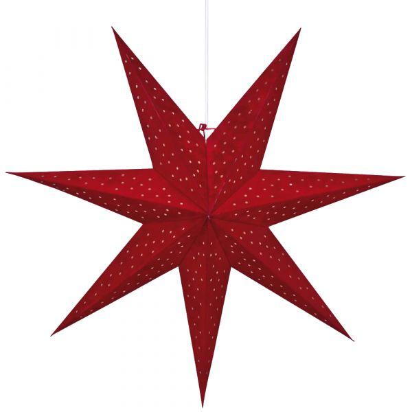 Weihnachtsstern Papier Leuchtstern hängend rot mit Schalter Ø 75 cm