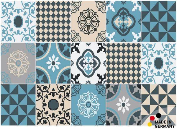 Fußmatte Fußabstreifer ESSENCE Fliesen blau beige Retrolook 50x70x0,5cm waschbar