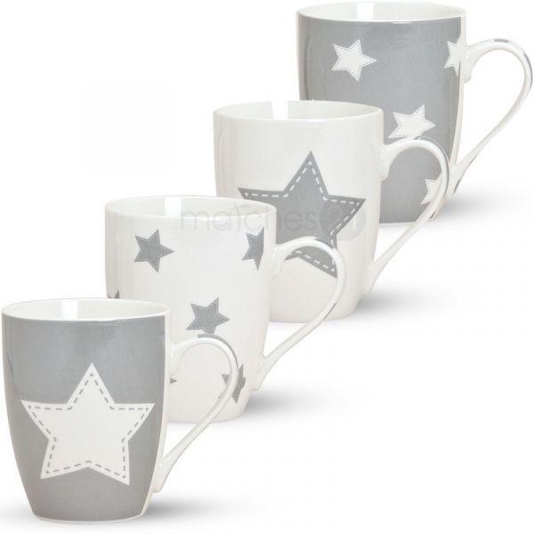 Tassen Becher Kaffeetassen Sterne 1 Stk. grau B-WARE Porzellan 10 cm / 300 ml
