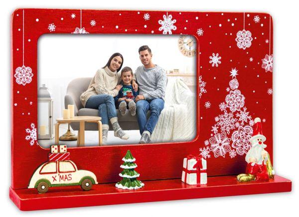 Bilderrahmen Bilderleiste Holz rot Weihnachten X-MAS VW KÄFER & FIGUREN 24 cm