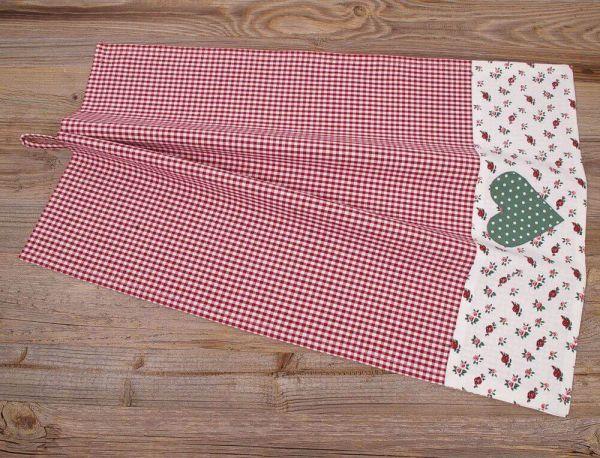 Geschirrtuch Landhaus Premium VRONI Textil kariert rot Herz Bordüre 50x70 cm