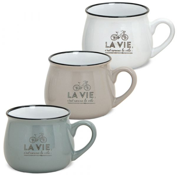 Tassen Becher Kaffeebecher Retro Motiv weiß taupe grau 3er Set 7,5 cm / 250 ml