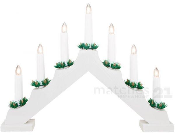 Lichterbogen Weihnachtsleuchter weiß 7-flammig aus Holz 42x30 cm