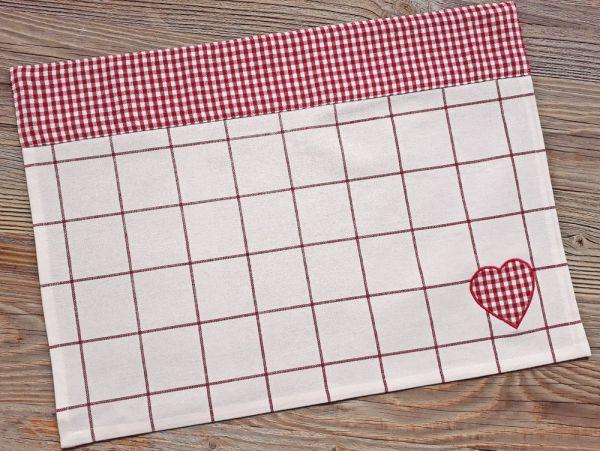 Tischset Platzset Landhaus Premium GERTI weiß rot kariert Herz 33x48 cm
