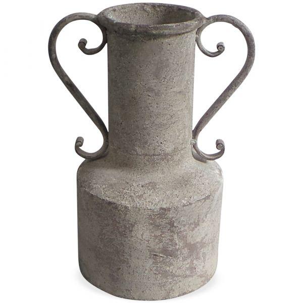 Kübel Amphore Pflanzkübel Pflanzgefäß Antiklook 2 Griffe Metall grau 1 Stk 18x25,5 cm