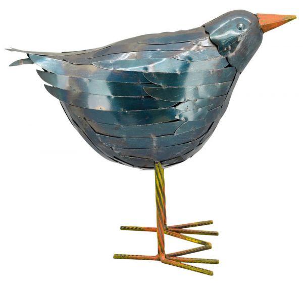 Rabe Vogel Metall Gartenfigur Figur Skulptur Outdoor blau hoch 1 Stk - 35,5x32 cm