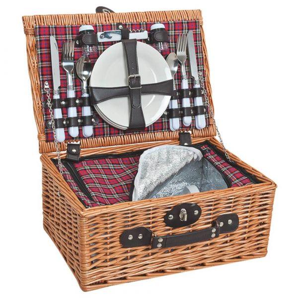 Picknickkorb 4 Personen Weidenkorb Koffer 25-tlg inkl Geschirr & Kühltasche