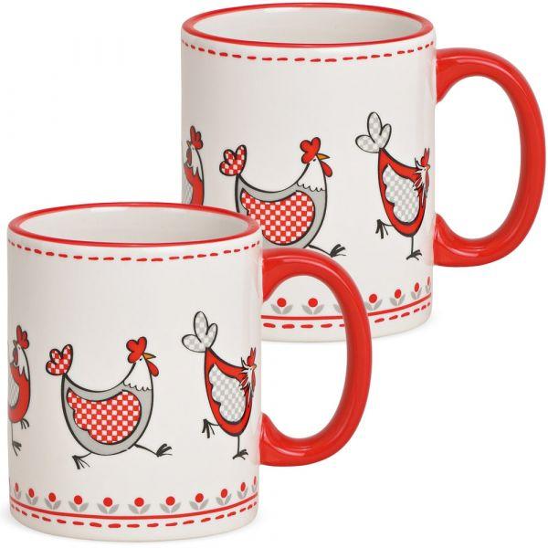 Tassen Kaffeebecher lustige Hühner rot weiß Keramik 2er Set 330 ml 9 cm