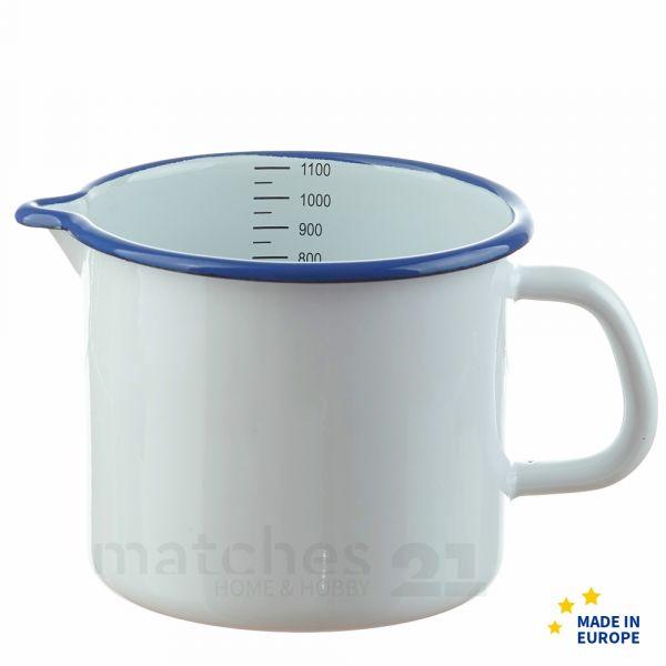 Email Milchtopf mit Skala weiß Emaille Topf / Messbecher Ø 12 cm / 1000 ml