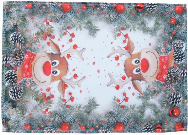 Tischset Mitteldecke Weihnachten witziger Elch weiß & Druck bunt 35x50 cm