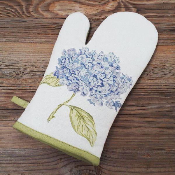 Topfhandschuh Landhaus LOTTE Hortensien Blüte Aufhänger grün Ofenhandschuh 1 Stk