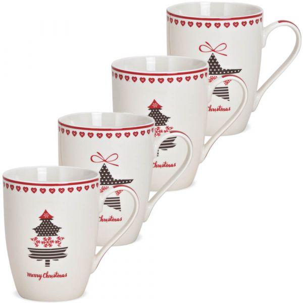 Tassen Weihnachtstassen Stern & Baum Dekor Porzellan 4er Set sort 275 ml 10 cm