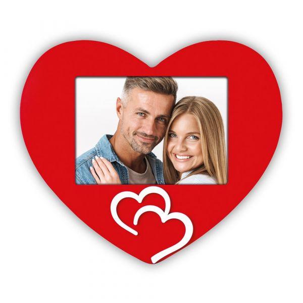 Bilderrahmen Fotorahmen Holz Herzform rot & 2 Herz Applikationen weiß 10x15 cm