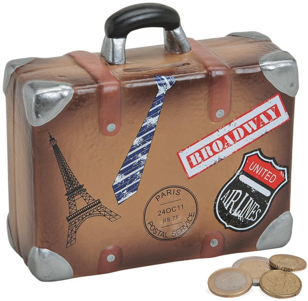 Spardose Travel the World Koffer in beige-braun Sparschwein Sparbüchse Welt