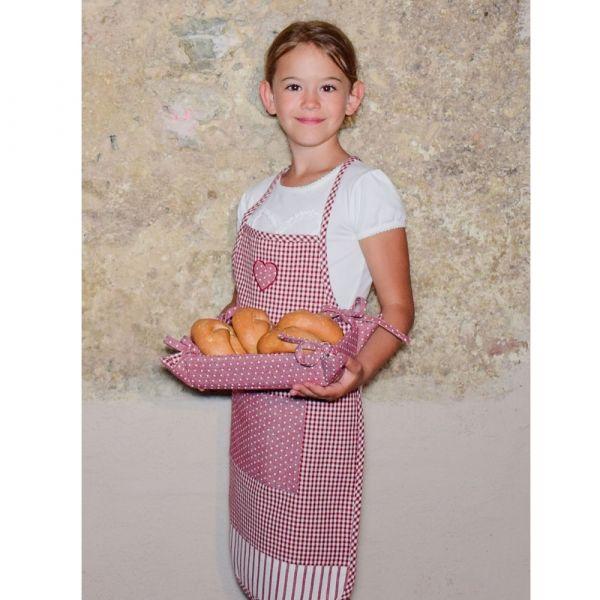 Latzschürze Kinder Schürze Landhaus LINA Herz & Tasche 60x40 1 Stk - rot