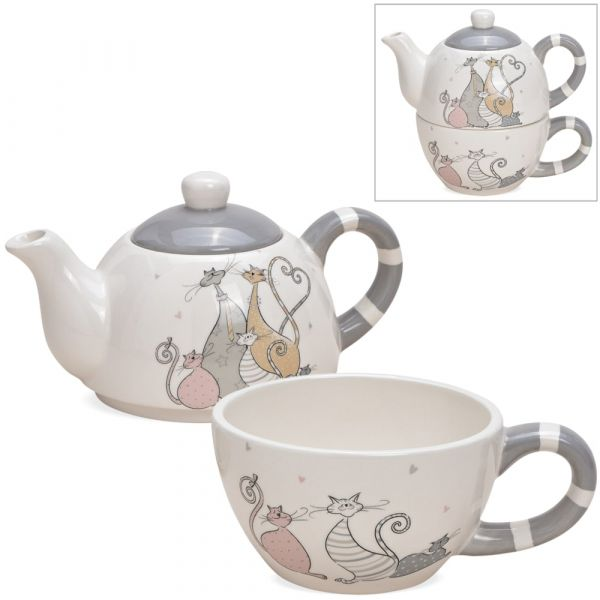 Tea For One Geschenk Set Keramik Katzen Motiv Comic gemalt bunt Teekanne & Tasse