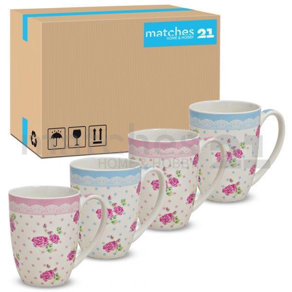 Tassen Becher Kaffeebecher Rosen Dekor rosa / blau Porzellan 36 Stk. Karton