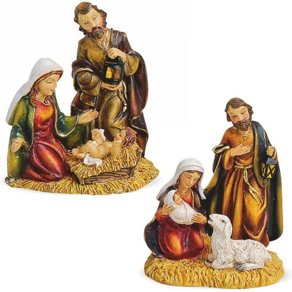 Krippenfiguren Weihnachtskrippen Figuren Gruppe 2er Set sort Kunststoff 6x5x7,5 cm