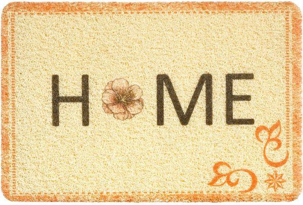 Fußmatte Türmatte Türvorleger Vinyl Outdoor beige Home Schnörkel & Blume 40x60 cm