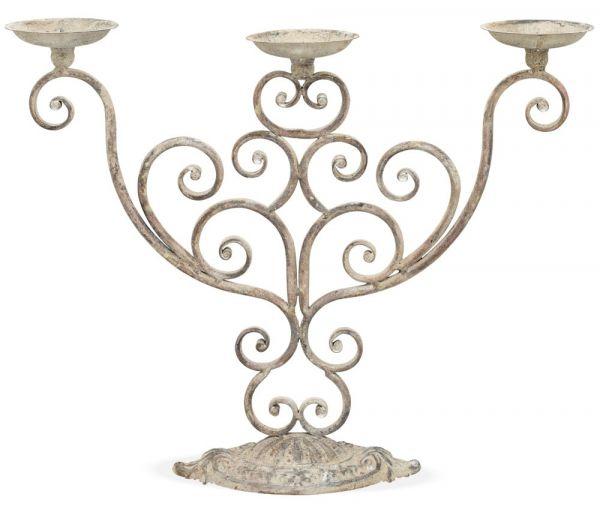 Kerzenständer verschnörkeltes Gestell Kerzenhalter Metall 3-armig Antik 54x44 cm