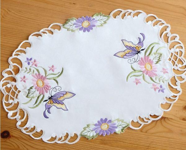 Tischläufer Mitteldecke Schmetterlinge Blumen Zierkante Stick bunt 30x45 cm oval