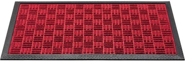 Fußmatte Fußabstreifer Türmatte Outdoor Karomuster 40x60 cm Polyester - Rot