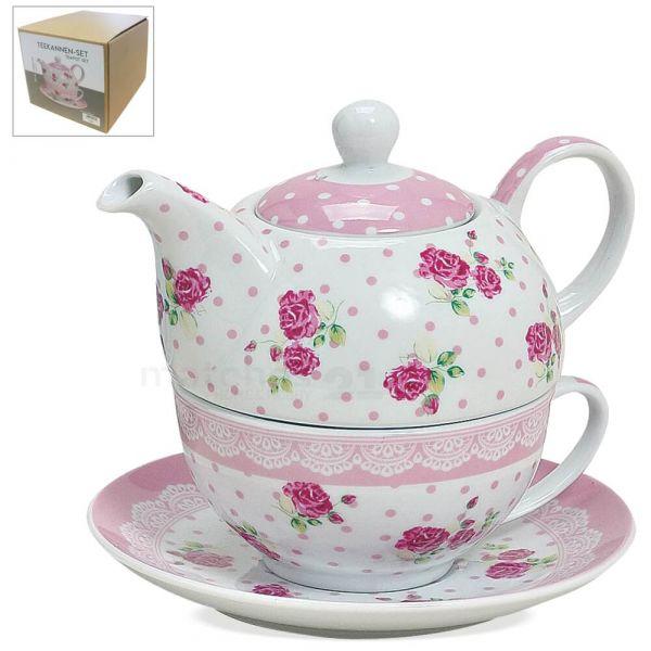 Tea For One Teekannen Set Rosen mit rosa Borte 3-tlg. Teeset aus Porzellan