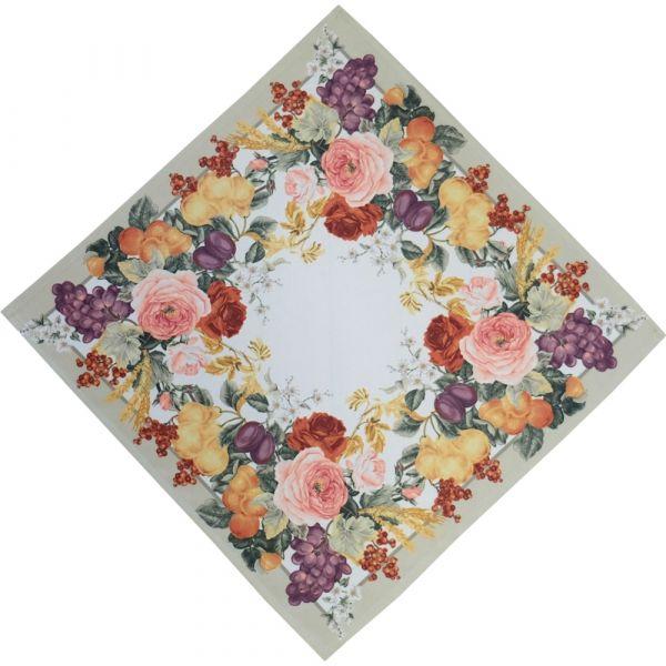 Mitteldecke Tischdecke herbstliche Rosen Druck bunt Tischwäsche 40x40 cm