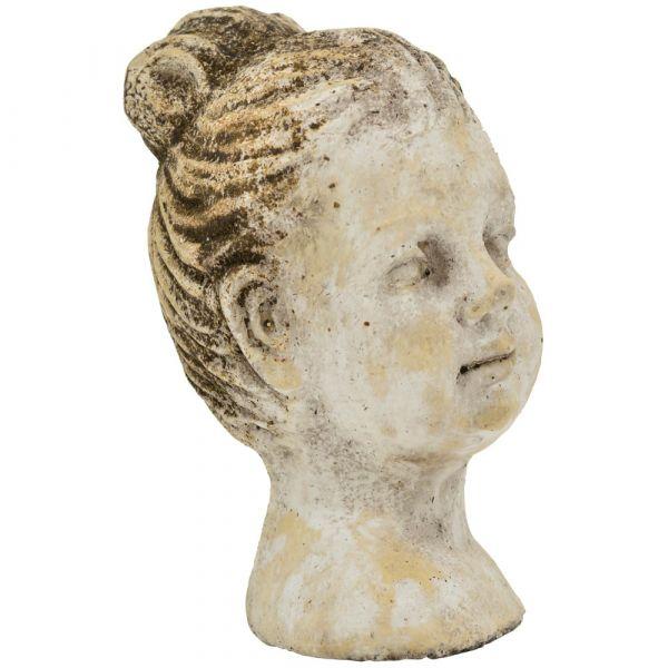 Frauenbüste Zement Figur Antik Büste Mädchen braun Vintage 1 Stk - 13,5x21 cm