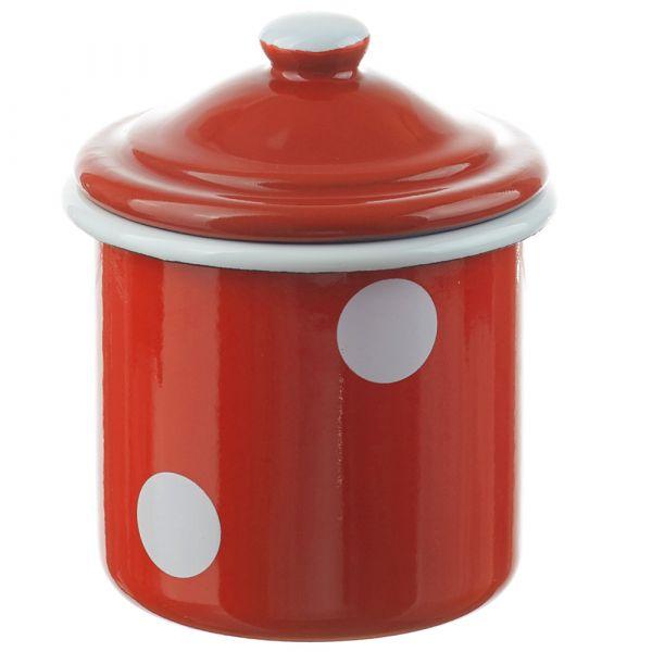 Email Vorratsdose / Zuckerdose rot weiß gepunktet Emaille 11x8 cm / 300 ml