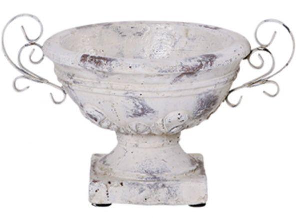 Schale Sockel Henkel Blumentopf Keramik Vintage Shabby creme 1 Stk - 30x23 cm