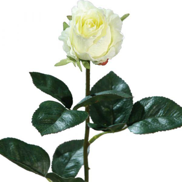 Rose Kolumbien Kunstblume Stielrose Kunstpflanze Blüte - 1 Stk 37 cm creme weiß