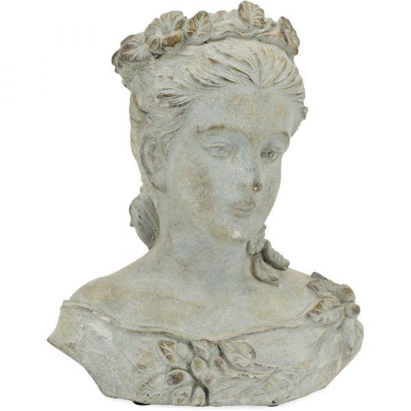 Frauenbüste Antikoptik Pflanztopf Frau Büste Blumen Zement grau 1 Stk 24x29 cm