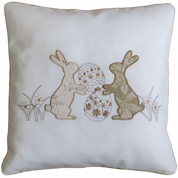 Kissenbezug Kissenhülle Heimtextilien Osterhasen beige / braun 40x40 cm