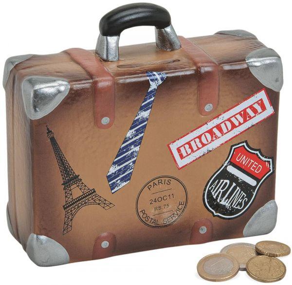 Spardose Urlaubskasse Koffer Sparbüchse Keramik braun 1 Stk. 14x13 cm