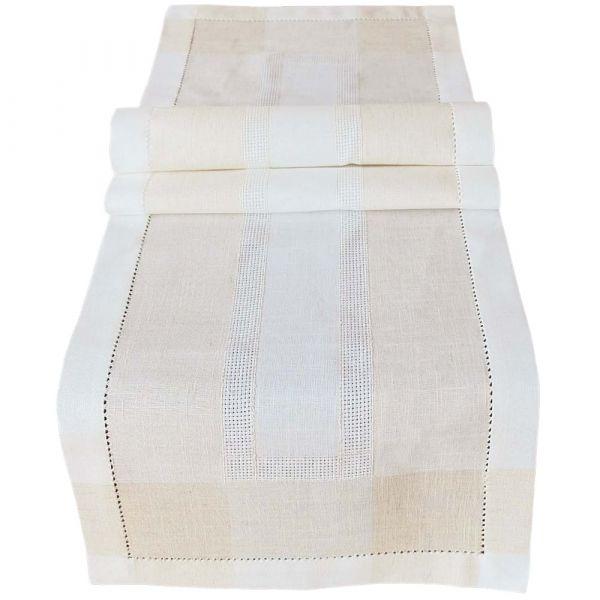Tischläufer Mitteldecke Leinenoptik & Hohlsaum Tischwäsche wollweiß ecru 40x140 cm