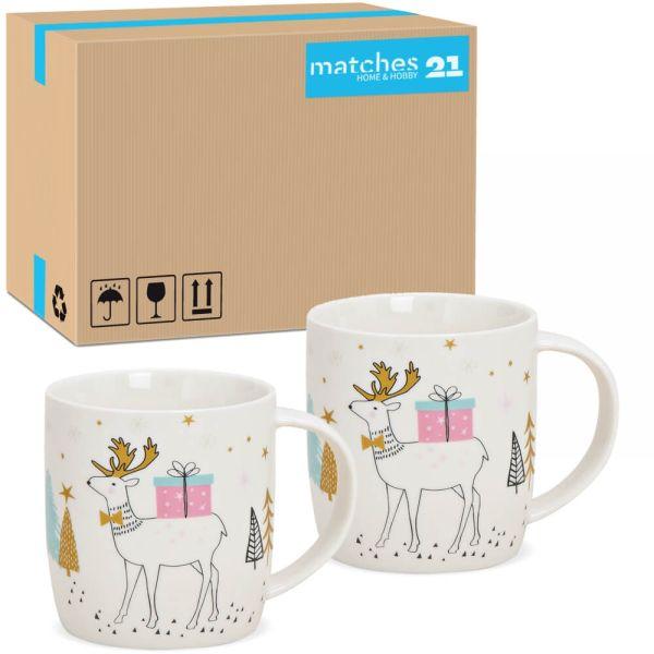 Tassen Weihnachtstassen Hirsch mit Geschenk bunt Porzellan 36 Stk 8 cm / 350 ml