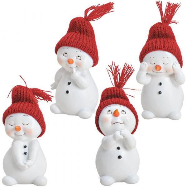 Schneemann Deko Figuren mit Strickmütze Weihnachtsdeko Poly 4er Set 6x11 cm