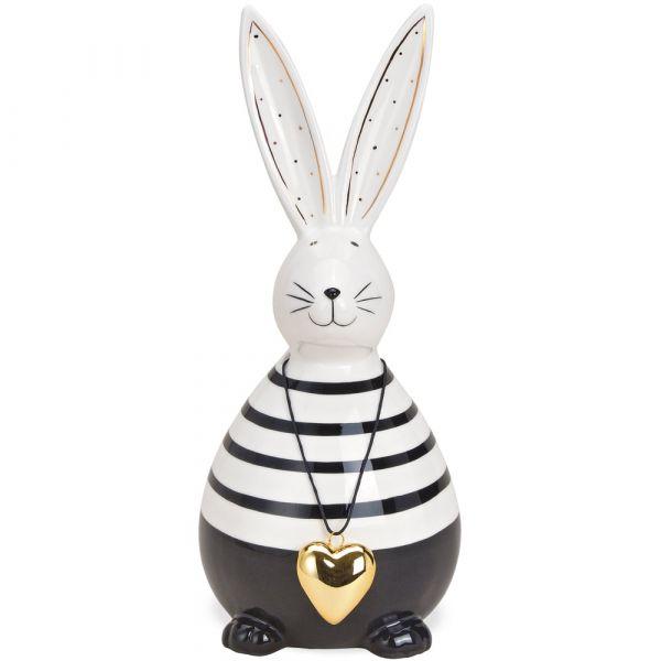 Hase Osterhase schwarz weiß mit Herzanhänger gold Osterdeko Keramik Figur 24 cm