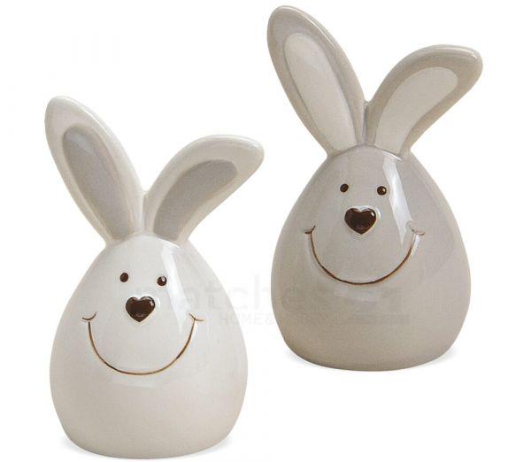 Osterhasen Deko Hasen herzige Figuren Ostern 2er Set weiß & grau Keramik 8 cm