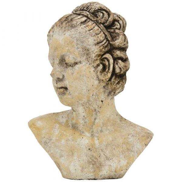 Mädchen Frau Büste Frauenbüste Skulptur Dekofigur Keramik creme 1 Stk 21x28,5 cm
